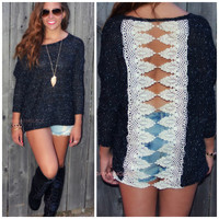 Queen's Gates Black Two Tone Crochet Sweater