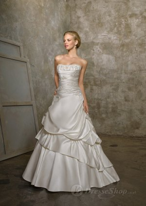 A-line Strapless Ruffled Taffeta Sweep Train Bridal Gown at Dresseshop