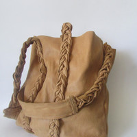 Tan tote bag one of a kind leather bohemian bag 100% Hi quality Genuine Leather, Hand Made