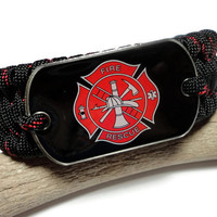 Fire Rescue 550 Paracord Survival Bracelet with Dog Tag Thin Red Line Color Wide Ladder Rack Tribolite Weave Handmade USA