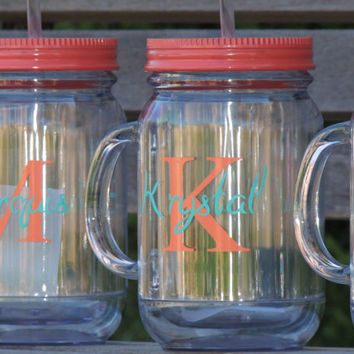 acrylic mason mug, personalized mason mug, wedding party gift, bridal party favor, monogrammed mason, plastic mason mug, drinking mason mug