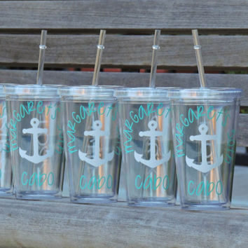 birthday acrylic cups, destination acrylic cups, party favors, wedding favor, personalized cup, monogrammed cup, acrylic tumbler, drinking