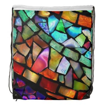 Mosaic Glass Drawstring Backpack