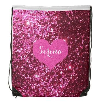 Pink Glitter Drawstring Backpack
