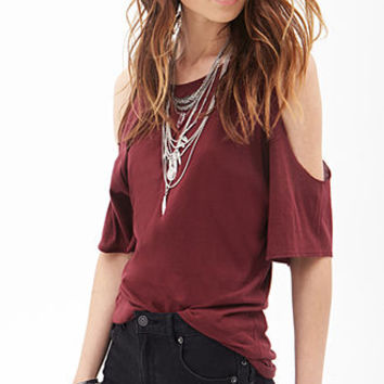 Cutout-Shoulder Jersey Tee