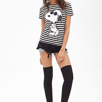 Striped Snoopy Graphic Tee