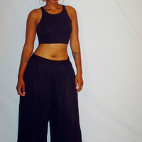 Vintage Black Pleated Palazzo Pants Plus Size