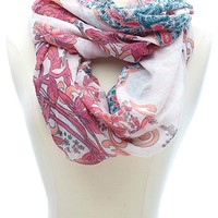 MIXED FLORAL & PAISLEY PRINT INFINITY SCARF