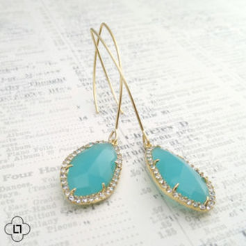 Turquoise Blue Pave Long Gold Dangle Earrings