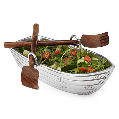 ROW BOAT SALAD BOWL WITH WOOD SERVING UTENSILS | Serving Platter, Tray, Buffet, Dinnerware, Table, Dish | UncommonGoods