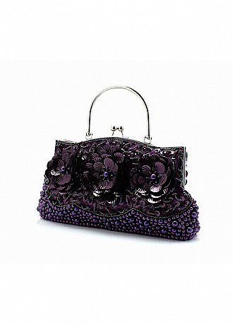 Buy discount Fabulous Purple Handmade Beads & Sequins In Floral Shape Evening Handbags/ Clutches  at dressilyme.com