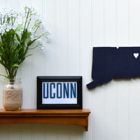 "UConn Huskies ""State Heart"" wall art, handcrafted wood with official team colors"