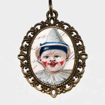 Clown Necklace Oval Pendant