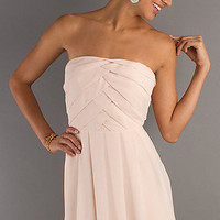 Chiffon Strapless Semi Formal Dress, Short Prom Dresses- PromGirl