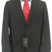 Hugo Boss Mens 2 Button Flat Front Solid Black Linen Suit