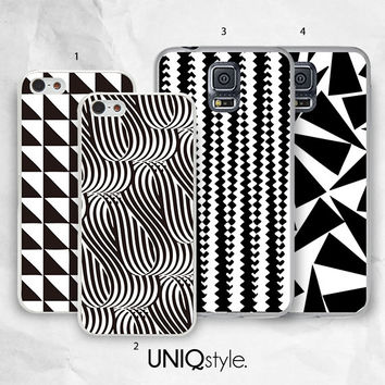 Geometric pattern phone case for iPhone 4/4s 5/5s 5c, Samsung s4, s4 active, s5, s5 active, note 2, note 3 - black and white pattern - i22