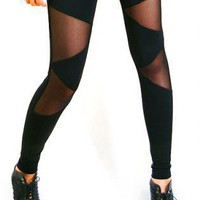 Black Leggings/Tights - Triangle mesh leggings [Leggings,Tights,Bottoms,Pants] | UsTrendy