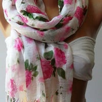 Pink Flowers Silky Touch Elegance Shawl // Scarf by womann