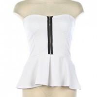 ZIP FRONT STRAPPY BACK PEPLUM TUBE TOP-Dressy-Womens Dressy Tops,Dressy Top For Women,Fashion Dressy Tops,Trendy Dressy Tops,Promo Dressy Tops