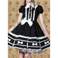 Graceful Short Sleeves Bowknot Multi-Layer Cotton Black Sweet Lolita Dress [TQL120507123] - £50.59 : Zentai, Sexy Lingerie, Zentai Suit, Chemise
