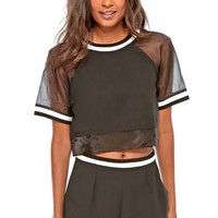 Felicitas Sports Rib Tee With Mesh in Black