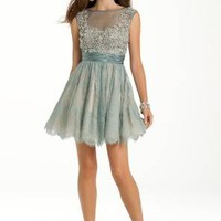 Beaded Two Tone Lace Dress