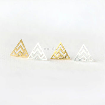Zigzag Triangle Earrings - choose your color, gold and silver