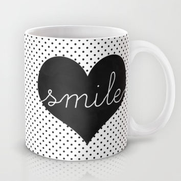 Smile - Typography, Charcoal Heart & Black Polka Dots Mug by Tangerine-Tane