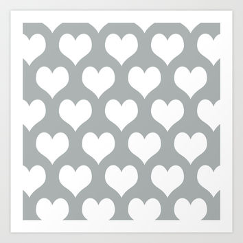 Hearts of Love Grey & White Art Print by BeautifulHomes | Society6