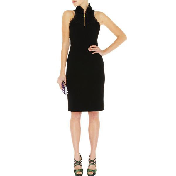 Karen Millen Ruffle Texture Dress Black ACLNO4536162