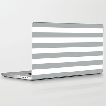 Stripe Horizontal Grey & White Laptop & iPad Skin by BeautifulHomes | Society6