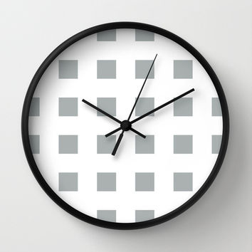 Cross Squares Grey & White Wall Clock by BeautifulHomes   Society6