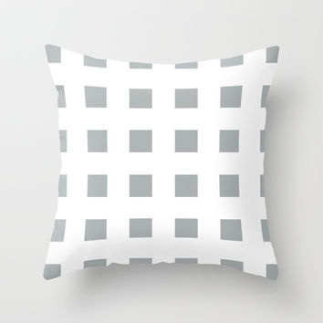 Cross Squares Grey & White Throw Pillow by BeautifulHomes | Society6