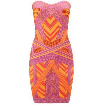 Herve Leger Geometric Jacquard Bandage Dress ACLNO4536157