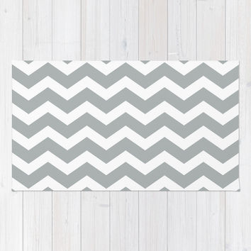 Chevron Grey & White Area & Throw Rug by BeautifulHomes | Society6