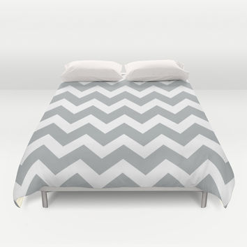 Chevron Grey & White Duvet Cover by BeautifulHomes | Society6