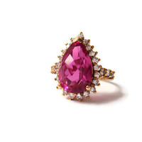 Vintage Pink CZ Teardrop Ring Pink by YesterdaysSilhouette on Etsy