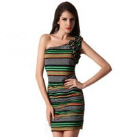 Bqueen Oblique Slim Stripe Sleeveless Dress BY271E - Designer Shoes|Bqueenshoes.com