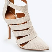 Faux Pebbled Leather Heel