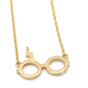 harry potter necklace, glasses necklace, harry potter symbol necklace, cool necklace, harry potter glasses,gold necklace, unique necklace