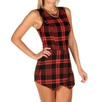 Black Plaid Skort Romper