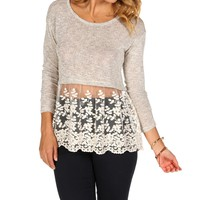 Heather Gray Knit Crochet Top