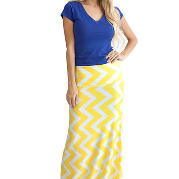 Zig Zag Chevron Maxi Skirt Yellow/White - Yellow/White /