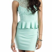 lace peplum dress $36.30 in IVORY PEACH SEAFOAM - New Dresses | GoJane.com