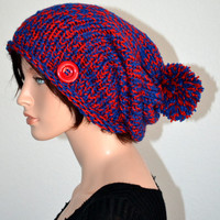 Knitted Winter Beanie in Red and Blue