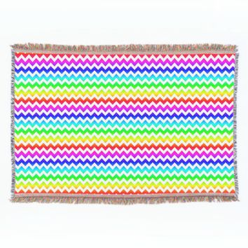 Rainbow White Chevron Throw Blanket