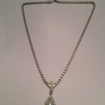 Vintage Pearl and Rhinestone Dangle Necklace Costume Jewelry Bride Wedding Party Gift