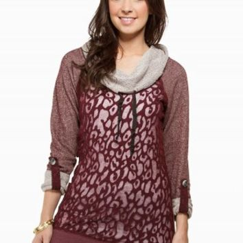 LEOPARD BURNOUT TUNIC FLEECE