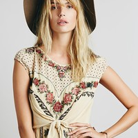 Free People Womens FP New Romantics Tie Knot Dress - Natural Combo,