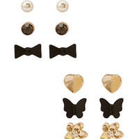 FOREVER 21 Flora & Fauna Stud Set Gold/Black One